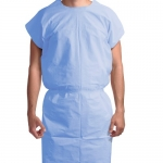 Dynarex 8102, Exam Gown 3 ply T/P/T Universal, Blue