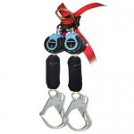 FallTech 82909TB5, DuraTech Twin Leg Web SRD with Carabiner and Hook
