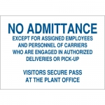 Brady 71142, No Admittance Except for As Signed Employees… Sign