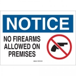 Brady 84907, 10″x14″ B-555 Notice No Firearms Allowed On Premises Sign