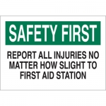 Brady 22653, Report All Injuries No Matter How… Sign