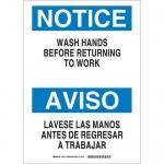 Brady 87714, 10″x14″ Notice/Aviso Wash Hands Before Returning… Sign