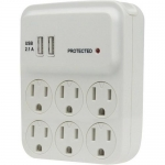 Morris 89016, 6-Outlet Surge Tap with Two 2.1A USB Charging Ports