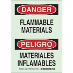 Brady 90507, Bilingual Danger Flammable Materials Sign