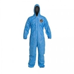 DuPont D14997197, ProShield 10 Coverall, Hood, Serged, Blue, LG