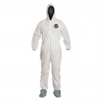 DuPont D15022460, ProShield 10 Coverall, Hood, Boots, Serged, LG
