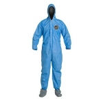 DuPont D15022534, ProShield 10 Coverall, Hood, Boots, Serged, Blue, LG