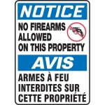 """Accuform FBMACC813VS, Bilingual Notice Sign """"No Firearms Allowed …"""""""