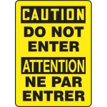"""Accuform FBMADC600VP, Plastic Bilingual Caution Sign """"Do Not Enter"""""""