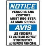 """Accuform FBMADC838VS, Bilingual Notice Sign """"Vendors And Visitors…"""""""