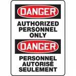 """Accuform FBMADM006VP, Danger Sign """"Authorized Personnel Only"""""""