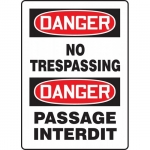 "Accuform FBMADM076VP, Plastic Bilingual Danger Sign ""No Trespassing"""