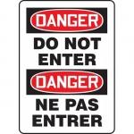 "Accuform FBMADM129VP, Plastic Bilingual Danger Sign ""Do Not Enter"""