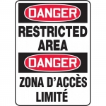 "Accuform FBMADM137VP, Plastic Bilingual Danger Sign ""Restricted Area"""