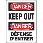 """Accuform FBMADM146VP, Plastic Bilingual Danger Sign """"Keep Out"""""""