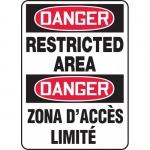 "Accuform FBMADM149VP, Plastic Bilingual Danger Sign ""Restricted Area"""