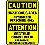 """Accuform FBMADM634VS, Bilingual Caution Sign """"Hazardous Area – Aut…"""""""