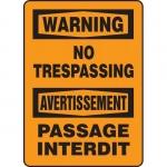 "Accuform FBMATR302VP, Plastic Bilingual Warning Sign ""No Trespassing"""