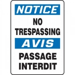 "Accuform FBMATR804VS, Vinyl Bilingual Notice Sign ""No Trespassing"""