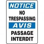 "Accuform FBMATR806VS, Vinyl Bilingual Notice Sign ""No Trespassing"""