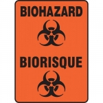 "Accuform FBMBHZ530XV, Adhesive Dura-Vinyl Bilingual Sign ""Biohazard"""