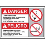 """Accuform FBMCAW189VS, Bilingual ANSI Danger Sign """"Lead Work Area"""""""