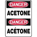 "Accuform FBMCHG002XL, Aluma-Lite Bilingual Sign ""Danger, Acetone"""