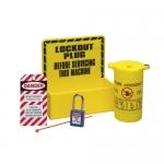 Brady LC229E, 4″ Plug Lockout Station, Black on Yellow