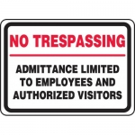 """Accuform MATR500XL, Sign """"No Trespassing Admittance Limited to …"""""""