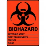 """Accuform MBHZ500VA, Sign """"Infectious Agent Entry Requirements"""""""