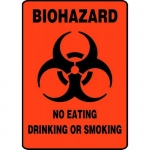 "Accuform MBHZ524XP, Sign ""Biohazard No Eating Drinking or Smoking"""