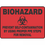 """Accuform MBHZ549XF, Sign """"Prevent Self-Contamination By Using …"""""""