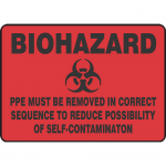 """Accuform MBHZ551XP, Sign """"PPE Must Be Removed in Correct Sequence…"""""""