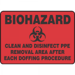 """Accuform MBHZ557XT, Sign """"Clean and Disinfect PPE Removal Area…"""""""