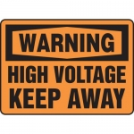"""Accuform MELC324VP, Plastic Sign """"Warning High Voltage Keep Away"""""""