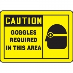 """Accuform MPPE411XF, Sign """"Caution Goggles Required in This Area"""""""